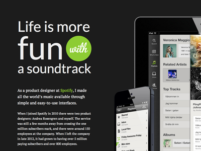 Spotify portfolio article spotify portfolio tobiasahlin article typography iphone ipad