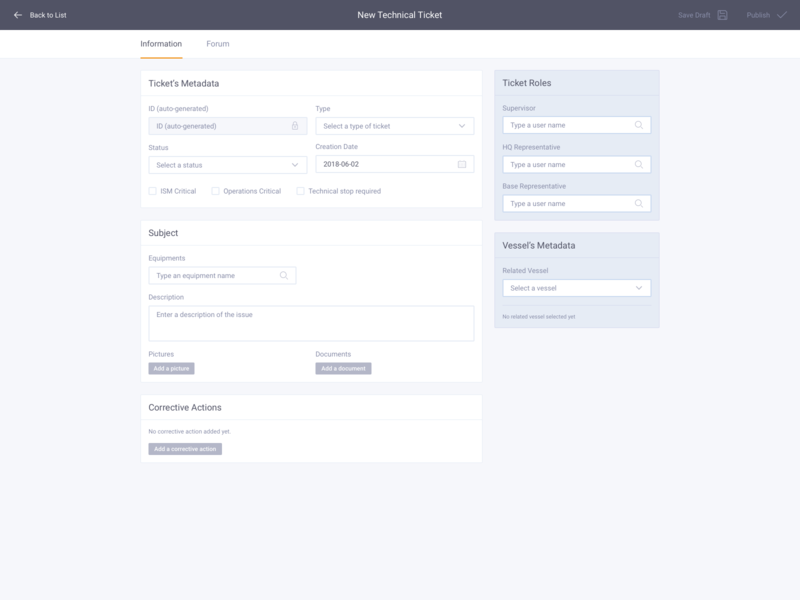 New Technical Ticket – Default states