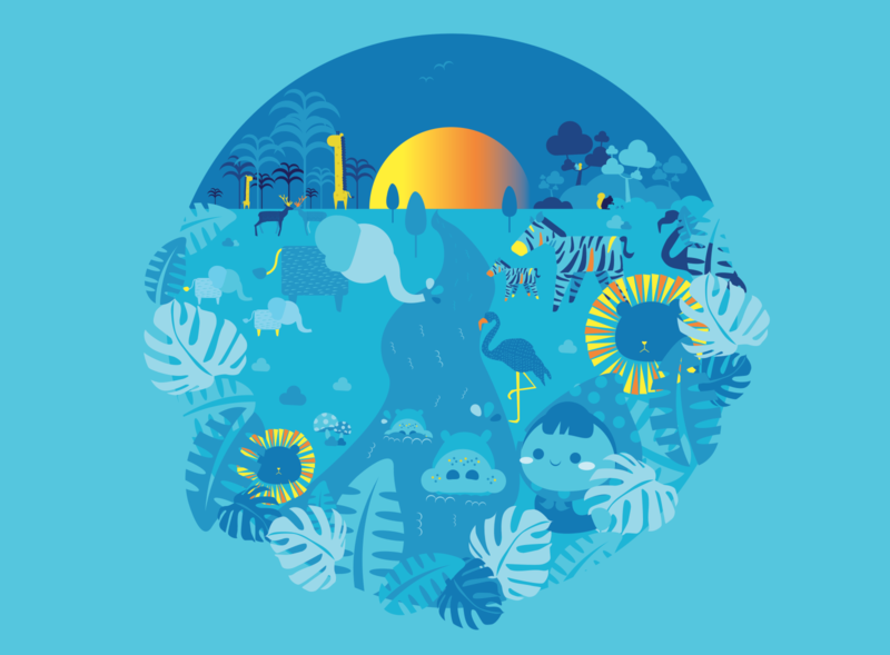 Blue Jungle animal illustration animal drawing graphic design blue children book illustration childrens book children abstractdesign abstract art abstract cute illustration minimal vector adobe illustrator adobe design artist art illustration