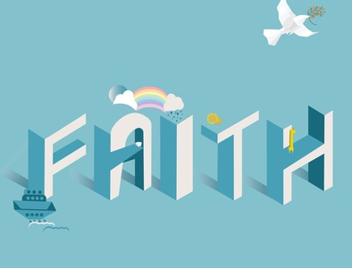 """FAITH"" typography art typogaphy illustrator designer arts designs isometric illustration isometric design isometric art isometry minimalist cute illustration minimal abstract vector adobe illustrator design artist art illustration"