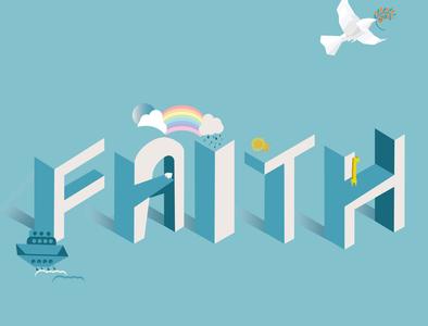 """FAITH"" typography art typogaphy illustrator designer arts designs isometric illustration isometric design isometric art isometry minimalist cute illustration minimal abstract vector adobe illustrator design artist art illustration"