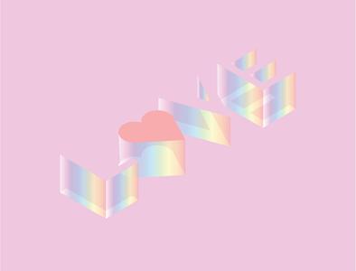 """LOVE"" rainbow isometric illustration isometric art isometric graphic graphicdesign heart pink love type typo typography art typography cute illustration minimal design illustration adobe illustrator vector artist"