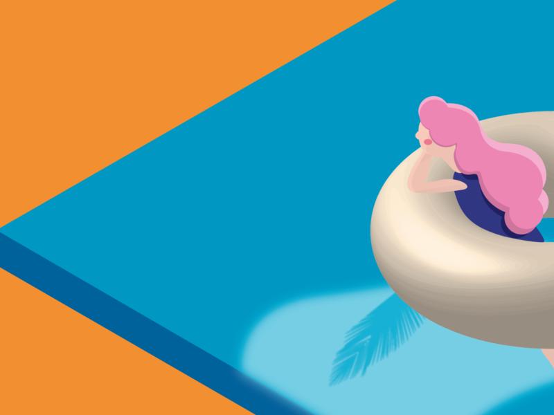 Illustration | Character Design blue designer pink hair pink girl 2d motiongraphics art illustration style minimalist minimal lonely alone abstract design vector characterdesign character character animation