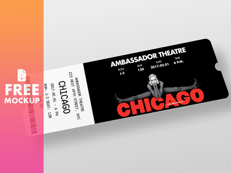 Ticket Mockup adobe photoshop design psd free download theatre cinema ticket template mockup freebie