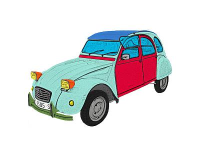 Psychedelic 2CV car 2cv colour cartoon photoshop citroen