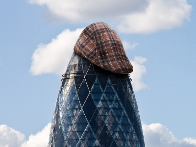 Flatcap on the Gerkin photomanipulation photoshop yorkshire london gerkin flatcap