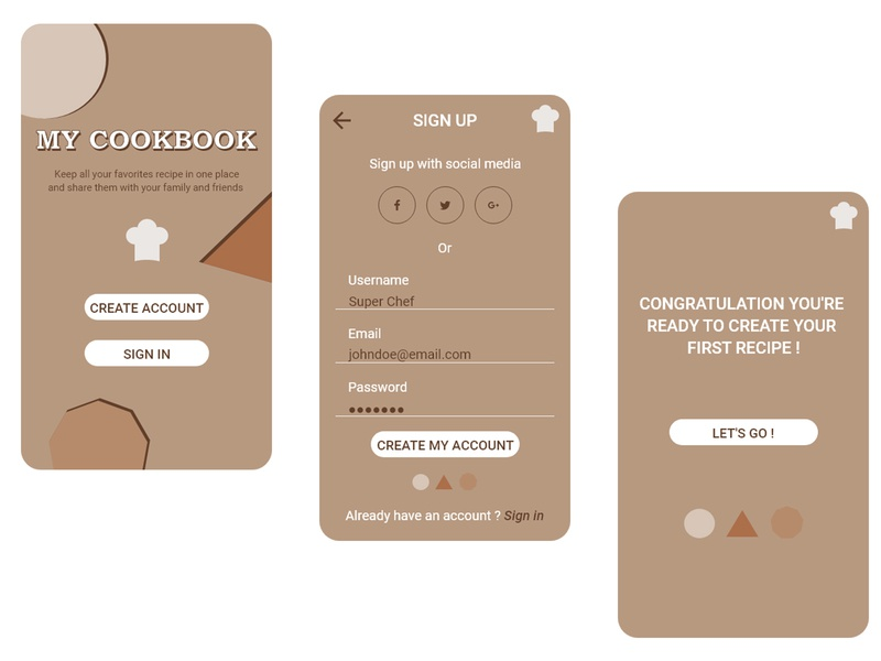 Daily UI #001 / Sign up My CookBook flat ux app application brown white concept ui mobile dailyui challenge signup recipe app