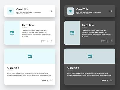 cards - light & dark mode cards design cards ui cards light theme light mode dark theme dark mode