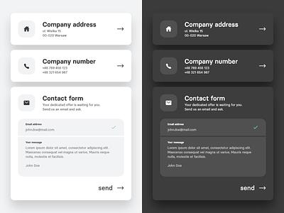 contact section light & dark mode ui design blackandwhite black and white grayscale dark theme dark mode contact section contact form