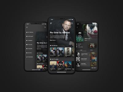 Movie mobile app mobile application mobile design mobile ui dark ui movie app mobile app design mobile app design