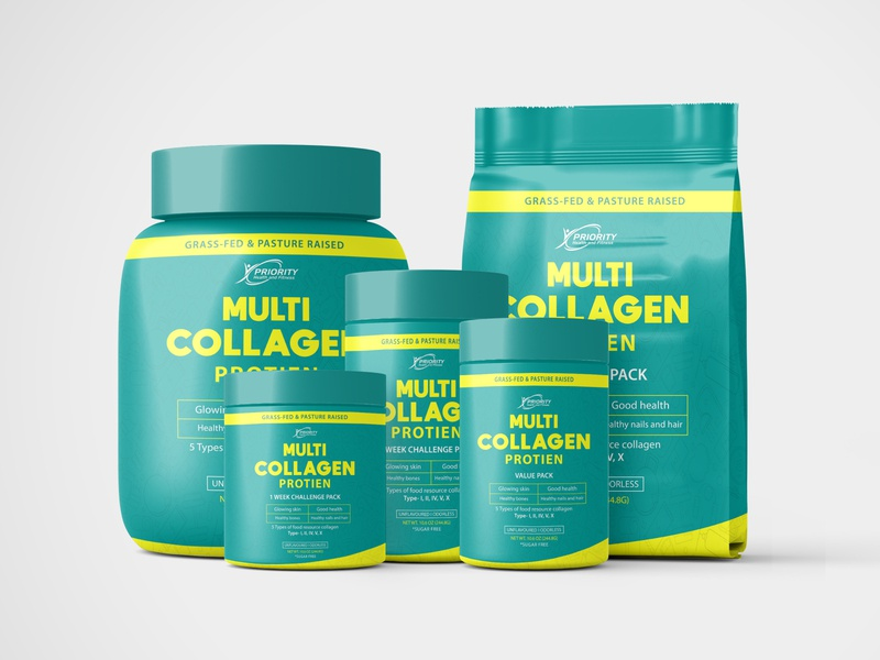 Collagen Pack Labeling graphic design advertisement fitness product label design product packaging dribbble advertisement design branding