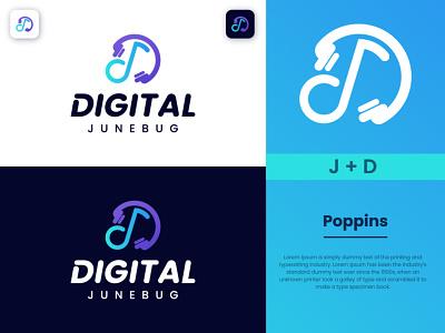 Digital June Bug - Music Logo Design illustration company logo business logo creative logo modern logo modern music logo logo creation music logo design graphic design logodesign brand design brand logo branding logo