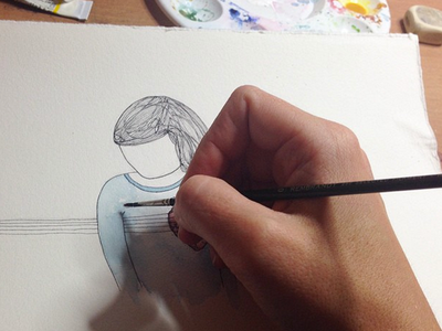 WIP • comissioned illustration for a short story comissioned drawing line watercolour illustration