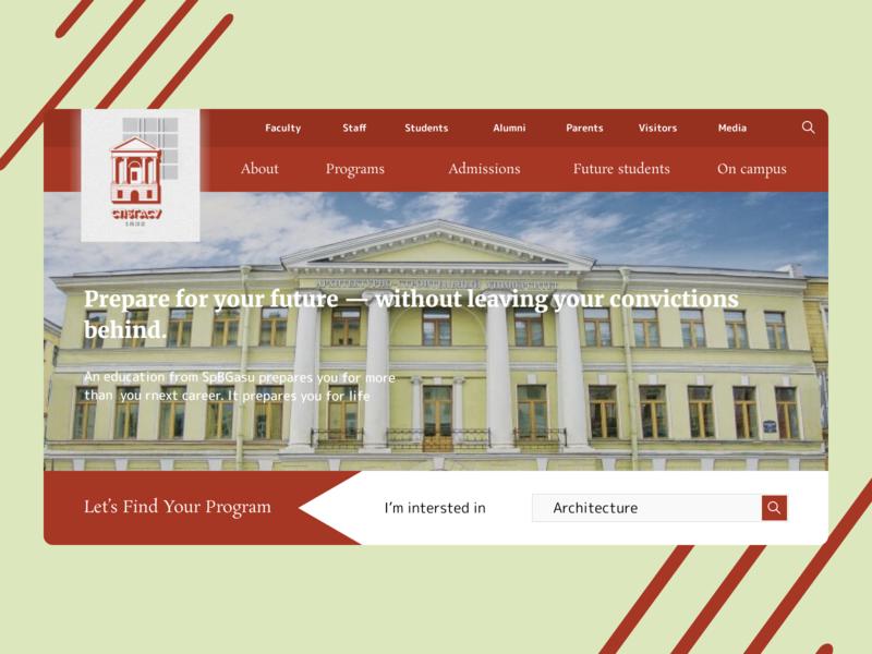 The page for SPbGASU web home page university minimal ui website design