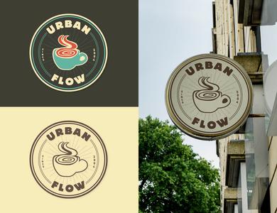 Urban Flow Coffee logo design concept logo branding design illustration graphic design