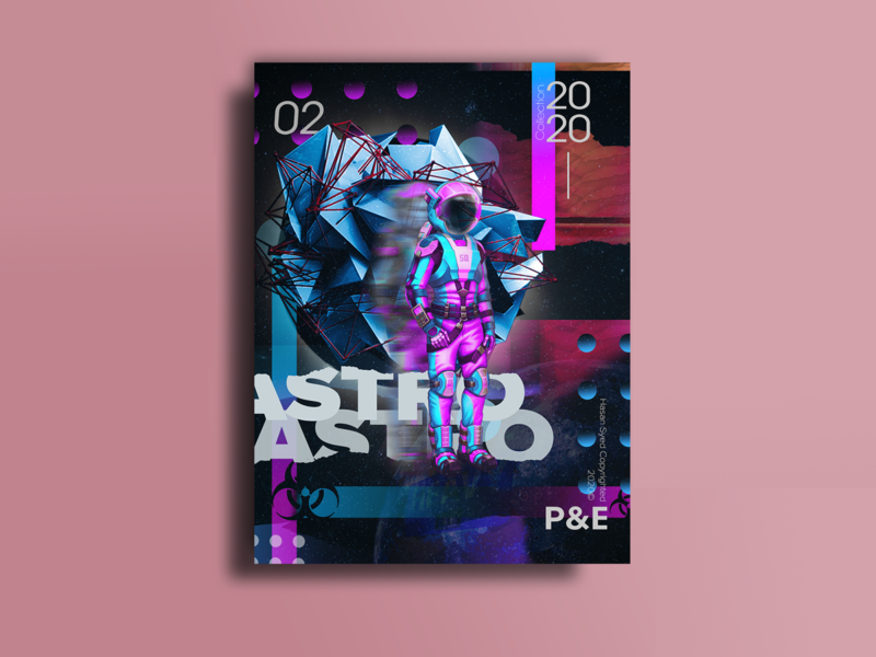 ASTRO - Poster 3d art 3d three-dimensional purple pinks blues gradient graphic typography posters poster art poster a day poster design poster design