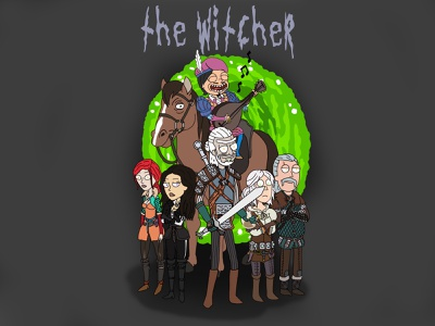 The Witcher Rick and Morty Style (Game) minimal branding illustration design tutorial drawing draw digital character