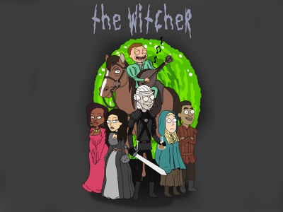 The Witcher Rick and Morty Style (Netflix Series) minimal branding illustration design tutorial drawing draw digital character