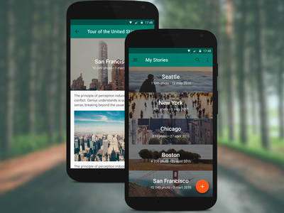 Photo Story App lollipop read feed story photo ui android mobile design material app