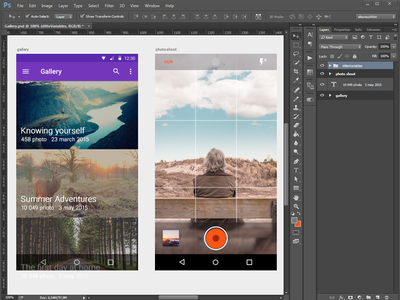 Gallery App Material Design photoshop gallery feed camera photo phone lollipop ui mobile design android material