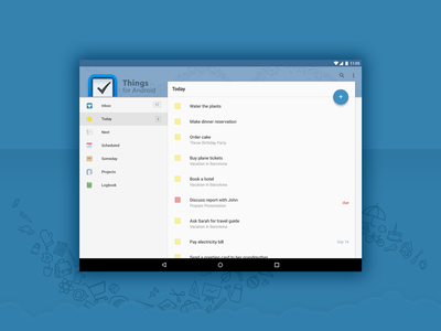 Things Android Material Design concept interface todo things tablet ui design lollipop material android
