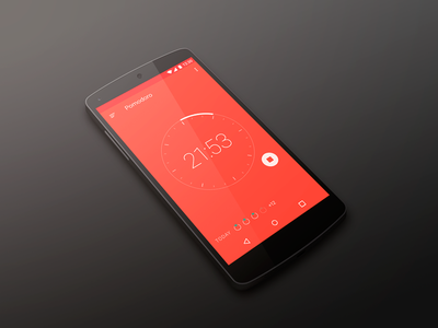Pomodoro App concept interface ui design lollipop marshmallow material android timer pomodoro