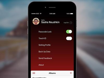 Navigation - My Albums iOS profile photo ux navigation nav sidebar menu iphone design app ui ios