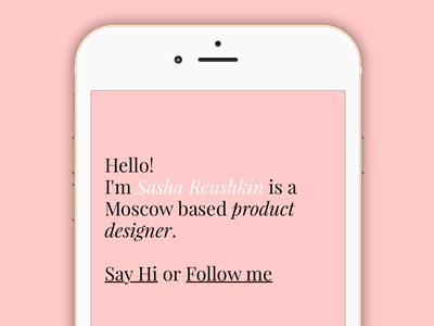 Home page hello rose iphone site personal web