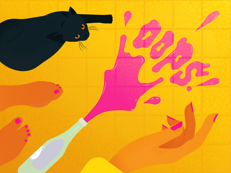 Oops! cats pink cat flat design vector vector art editorial illustration illustration illustrator