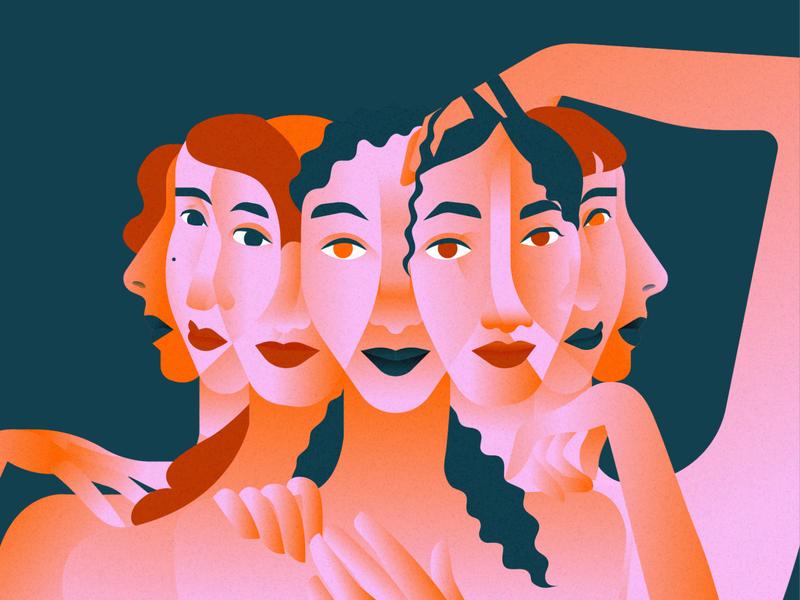 An Illusion artist girls illustrator adobe illustrator vector art pink flat design artwork editorial illustration vector illustration