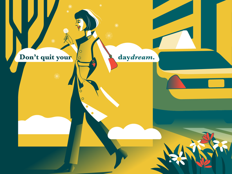 Daydream quote red yellow flowers girl taxi car artwork adobe illustrator 2d editorial illustration vector illustration