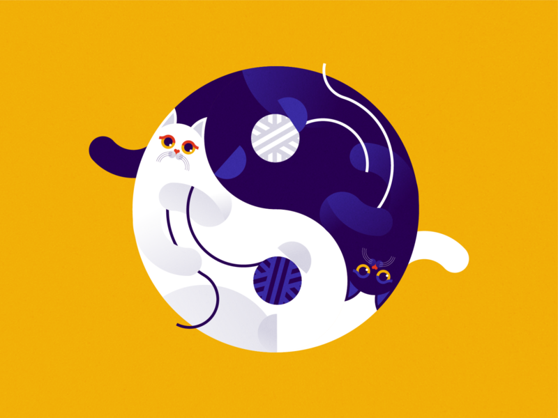 Yin & Yang 2d branding logo cats artwork adobe illustrator vector art flat design editorial illustration vector illustration