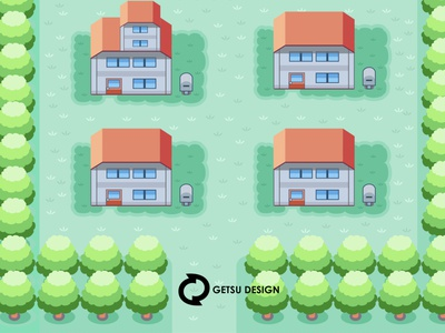 Redesign Pallet Town Of Pokemon Game Boy game art vector games design gameart animation game design illustration
