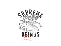 Supreme Beings merchandise design typography logo design