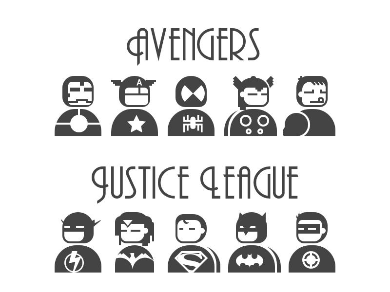 Heros icon icon font svg sketch sketchapp hero justice league avengers
