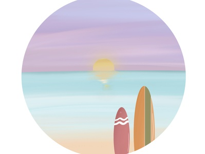 PASTEL BEACH illustration landscape summer beach sunset pastel color