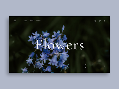 Flower Website Concept plant floral flowers website typography vector illustration ui ux minimal design
