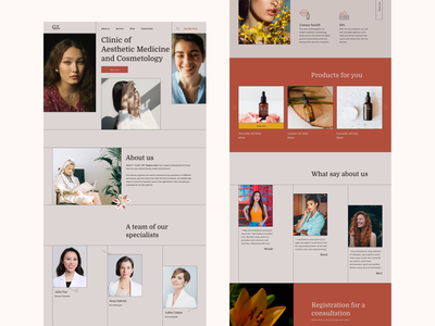 "Clinic of aesthetic medicine ""Golden Lilies"" branding logo illustration ux typography 3d minimal digital ui design"