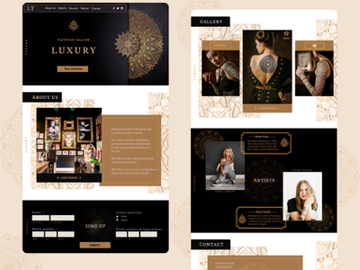 Tattoo Salon Landing Page UI UX Design ux ui landing page website design tattoo tattoo design tattoo art