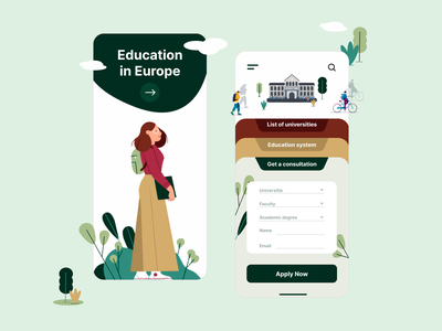Education in Europe Mobile App UX UI Design mobile app designer ui  ux design mobile app europe illustration education