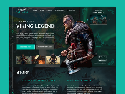 Assassins Creed Valhalla Landing Page UI UX Design designer ux ui design website page landing landing page design valhalla assassins creed