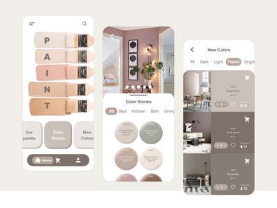 Paint Color Shop Mobile App UI UX Design color palette ui  ux design ux ui app mobile designer pastel colorful paint