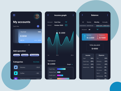 Expense Manager Dark Theme Mobile APP UI UX Design mobile app card account total graphic translation ui  ux designer ux ui design app mobile cash balance themes dark manager expenses income