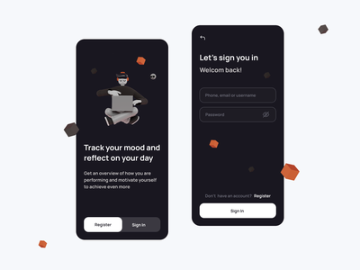 Track your mood | Sign in | Mobile App UI UX Design sign in login page register your mobile app design designer ui  ux ui ux app mobile mood track