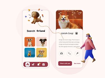 Search friend | Dog | Mobile App UI UX Design ux ui  ux ui search mobile app mobile illustration friend figma dog designer design corgi app