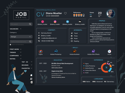 Dashboard CV | Dark Theme UI UX Design theme cv ux ui skills search profile portal jobs job interest experience education designer design dashboard ui dashboard design dashboard dark