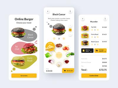 Burger | Online Food App | UI UX Design colorful menu order mobile app mobile ui ux ui  ux designer design app food app food online store burger