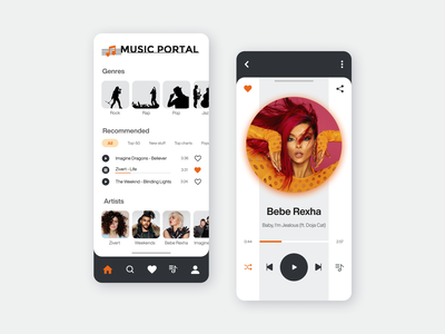 Music Player App | UI UX Design recommended genres mobile app mobile design designer ux ui ui  ux playlist player play artist app music player music music app