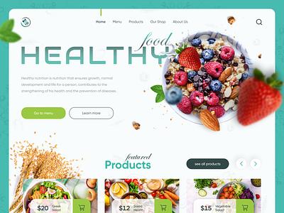 HEALTHY FOOD WebSite | UI UX Design menu vegetable lifestyle salad products food healthy shop website ui ux ui  ux designer design