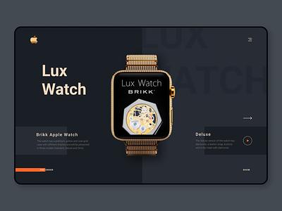 Brikk Apple Lux Watch WebSite | Dakr Theme | UI UX Design dark ui dark theme shop ui ux ui  ux designer design dark watchdesign watch webdesign website lux luxury brikk apple
